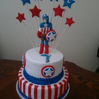Captain America Cake   captain America cake with 3D figure