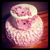 Ruffled Petal And Ruffled Flower Cake