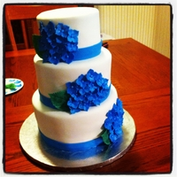 Hydrangea Wedding Cake Vanilla Cake with Vanilla buttercream. Covered in mmf with gp hydrangeas and leaves.