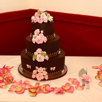 Ganache Cake With Flowers   First wedding cake. Ganache with gum paste roses