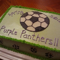 Soccer Soccer cake with fondant decoration and italian meringue buttercream frosting