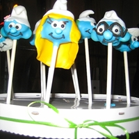 Smurf Pops These were made as a secondary treat to go with the birthday cake. The hats, Smurfette's hair and Vanity's flower are made from...