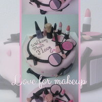 Love For Makeup A welcome home cake for my friend who is a mua: vanilla scented cake filled with caramel creme and crumb coated with semi-sweet chocolate...