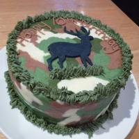Deer Birthday Cake Chocolate Lemonade Cake with Camouflage Buttercream and a fondant deer