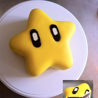 Super Mario Star Cake  ~ 1 tier, 7'' round pan, 3 Chocolate layers, star shape sculpted~ Vanilla cream cheese frosting~ Homemade Marshmallow fondant,...