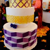Geometric Design Geometric designe cake with golden sugar veil.