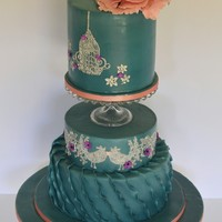Vintage Inspired Wedding Cake I was commissioned to create a vintage inspired wedding cake in duck egg blue, blush and silver. I wanted the cake to look sophisticated...