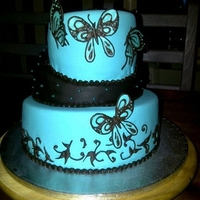 My First Topsy Turvy  this cake i made about a half a year ago (my third cake), birthday cake for my niece in the colours dark brown and turquois. The...
