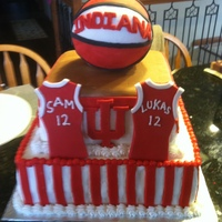 Indiana Hoosiers Basketball Birthday Cake Cake is for two boys turning 12