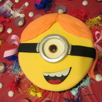 Minion Cake For A Girl I made this cake for my Goddaughter's 6th birthday.