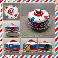 Superhero Birthday Cake Cake is white and chocolate dyed to be blue and red checkerboard. Covered in Fondx World fondant. The characters are made from Fondx...