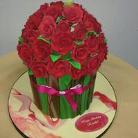 Custom Birthday Cakes For Her Red rose flower box cake