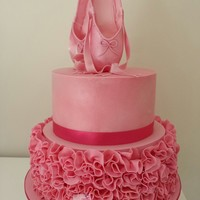 1St Birthday Ballerina Slipper Ruffle Cake 2 Tier Very Pink Ballerina Themed Ruffle Cake.. Made by Cakes! Inspired by Kayla