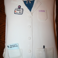 Lab Coat Carved sheet cake for a sweet nurse friend of mine who worked really hard to become a nurse practitioner and left to take a job in her new...
