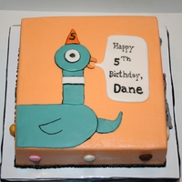 Pigeon Cake chocolate cake, buttercream icing, fondant accents