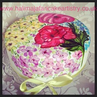 Handpainted Mothers Day Cake All free hand painted flowers