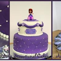 Sofia The First Birthday Cake And Cupcakes Sofia the First cake and tiara cupcakes