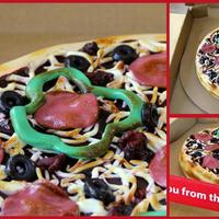 "Pizza Cake Brownie cake decorated with buttercream ""sauce"", fondant ""crust"", and fondant ""toppings"". Creme Brulee torch..."