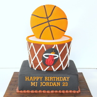 Icing Smiles Basketball Cake - Miami Heat Created this cake for Mike through Icing Smiles.