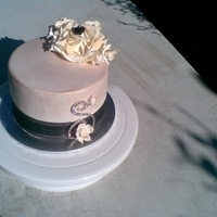 My First Birthday Cake.. white mud, torted with ganache...lustre dust applied, flowers first timers too!!!!