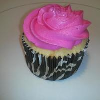 Wedding Cake Cupcake With Zebra Wrapper And Hot Pink Frosting *wedding cake cupcake with zebra wrapper and hot pink frosting!