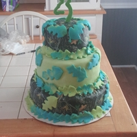 Camo Sweet 16 Cake I had a client who saw a similar cake online and requested camouflage with blue and green leaves. This was my first three tiered cake as...