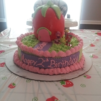 Strawberry Shortcake Cake This is a strawberry shortcake cake that I made for my daughter's second birthday. Everything is made of cake, including her house,...