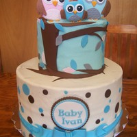 Owl Family Baby Shower Cake