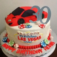 Las Vegas Ten inch cake with sculpted RKT Lamborghini :) covered in marshmallow fondant and gumpaste decorations