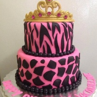 Girly Animal Print Cake Tiara is made of gumpaste with non edible rhinestones. 6 and 8 inch tiers, everything else is homemade fondant.