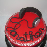 Headphone Cake FONDANT HEADPHONES, SILVER NUMBERS, RED AND BLACK