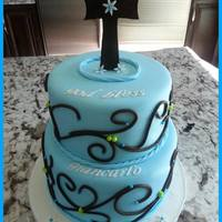Blue Fondant Brown Cross Swirls Baptism Cake *Blue fondant, brown cross, swirls, baptism cake