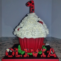 Giant Cupcake Ladybug Red White Polkadots Chocolate Shell giant cupcake, ladybug, red, white, polkadots, chocolate shell