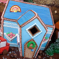 Blue Over Piped Gingerbread House By Wicked Goodies