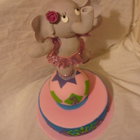 Elephant On A Ball Cake Choc cake base, iced with pink buttercream & fondant. Ball & elephant are rice krispie treats covered in white choc truffle &...