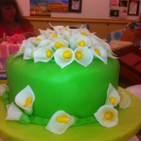Fondant And Cala Lilies My first Fondant cake