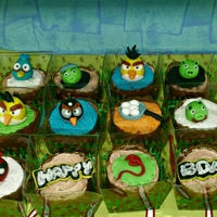 Angry Birds Themed Cake And Cupcakes Angry birds themed birthday cake and cupcakes for a 3-year-old