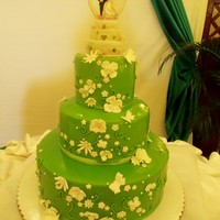 Green Themed Wedding Cake