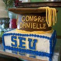 Graduation Cap And College Logo Graduation Cap, square cake with college logo, and highschool theme