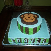 Baby Name Reveal Baby Name Reveal Cake, all buttercream, triple chocolate top tier, and white/strawberry bottom tier