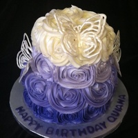Ombre Rose Cake With White Chocolate Butterflies   Ombré Rose Cake with White Chocolate Butterflies