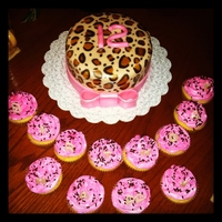 Leopard Print Cake Leopard print cake for a 12th birthday with cupcakes,