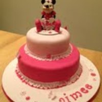 Minni Mouse Cake (Baby-faced) Minnie Mouse Cake for a first birthday !