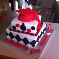 Red, White And Black Graduation Cake