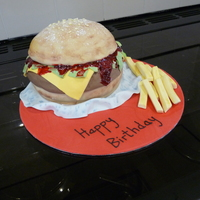 Bigger Than Any Cheeseburger I've Ever Bought - And Being Cake Tastes Better Too! Vanilla sponge, buttercream and jam cheeseburger!