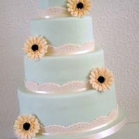Summer Cake With Lovely Soft Yellow Gerbera's