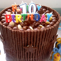 10Th Birthday Chocolate cake with chocolate sweets and matchmakers