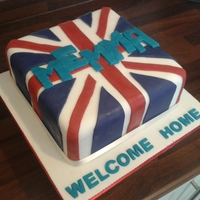 Union Jack this cake is for a friend who has a member of the family moving back to the uk. her daughter cant say emma so they asked me to put memma...