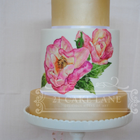 Mum's 60Th Birthday Cake 3 tier mudcake with extended middle tierHand painted roses on middle tier