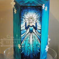 "Frozen Dessert Buffet My Frozen CakeQueen Elsa stained Glass window design 13"" high"